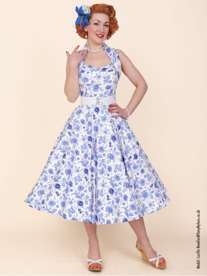 50s-1950s-Vivien-of-Holloway-Best-Vintage-Reproduction-Halterneck-Circle-Dress-Chateau-Blue-Floral-Print-Rockabilly-Swing-Pinup
