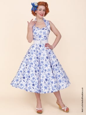 1950s Halterneck Chateau Blue Dress