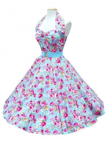 1950s Halterneck China Rose Blue Dress