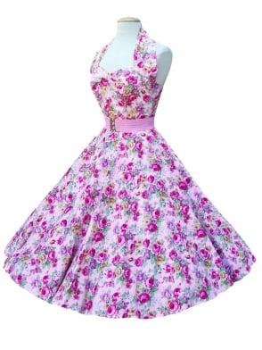 1950s Halterneck China Rose Pink Dress