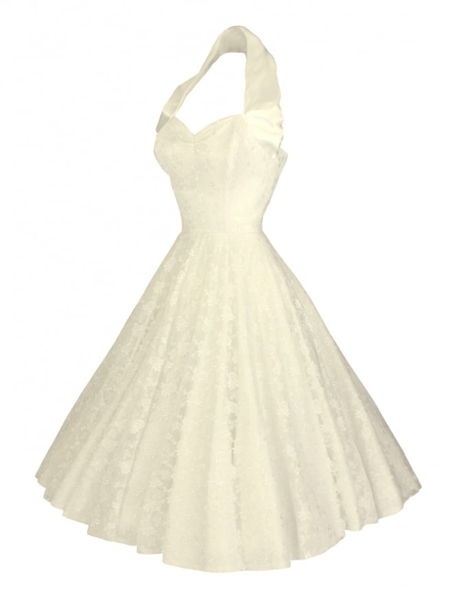1950s Halterneck Circle Deluxe Lace Cream Dress