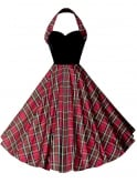1950s Halterneck Circle Dress Silk Tartan