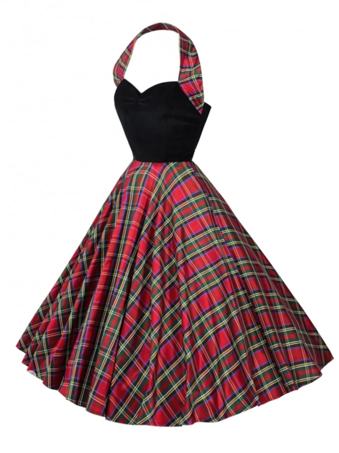 50s-1950s-Vivien-of-Holloway-Best-Vintage-Reproduction-Halterneck-Circle-Dress-Tartan-velvet-christmas-Print-Rockabilly-Swing-Pinup-Fl