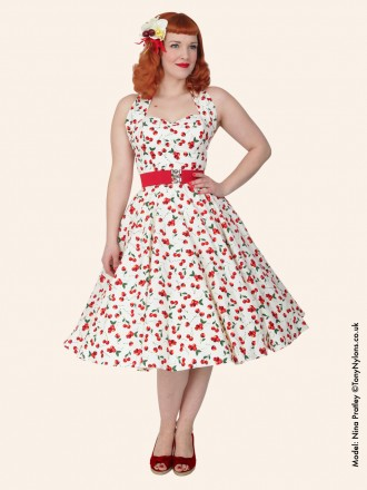 1950s Halterneck Cream Cherry Cotton Dress From Vivien Of
