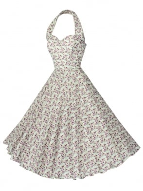 1950s Halterneck Cream Purple Floral Dress