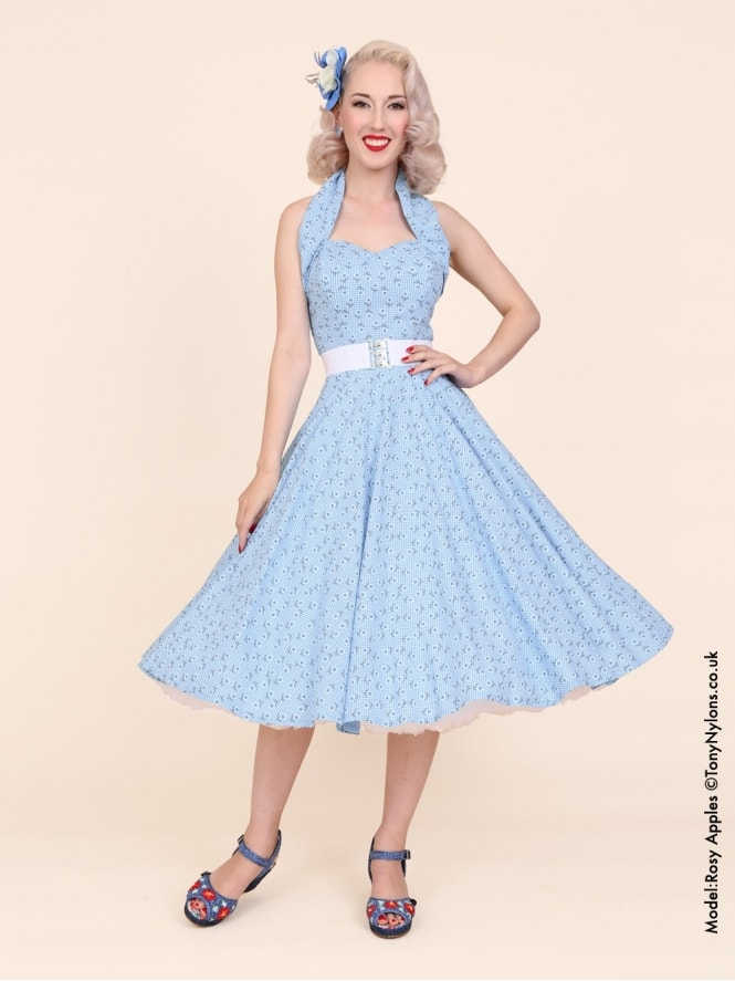50s-1950s-Vivien-of-Holloway-Best-Vintage-Reproduction-Halterneck-Circle-Dress-Daisy-Pale-Blue-Gingham-Check-Print-Rockabilly-Swing-Pinup