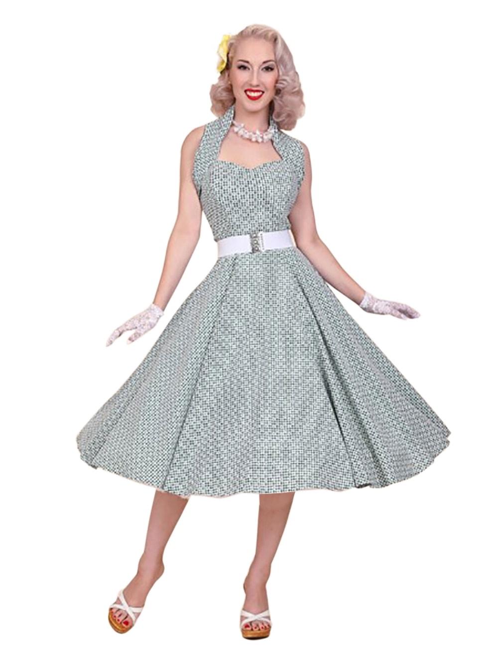 3fefd0de3 1950s Halterneck Daisy Gingham Bottle Dress from Vivien of Holloway