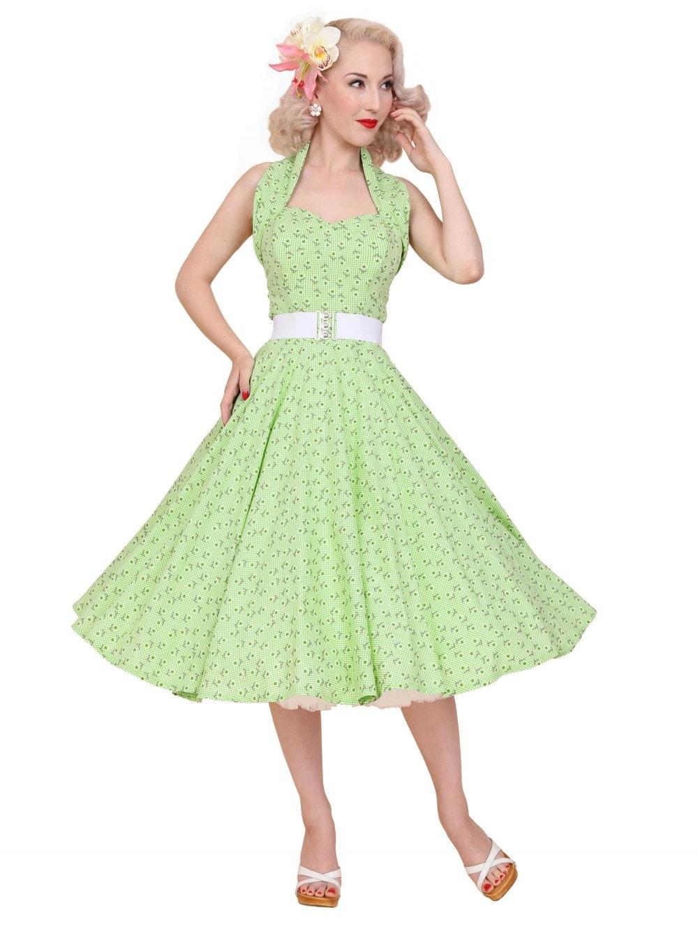 1950s Halterneck Daisy Gingham Green Dress From Vivien Of