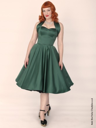 50s-1950s-Vivien-of-Holloway-Best-Vintage-Reproduction-Halterneck-Circle-Dress-Dark-Green-Duchess-Rockabilly-Swing-Pinup