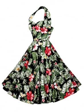 1950s Halterneck Deluxe Hibiscus Black Dress