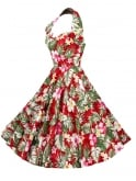 1950s Halterneck Deluxe Hibiscus Red Dress