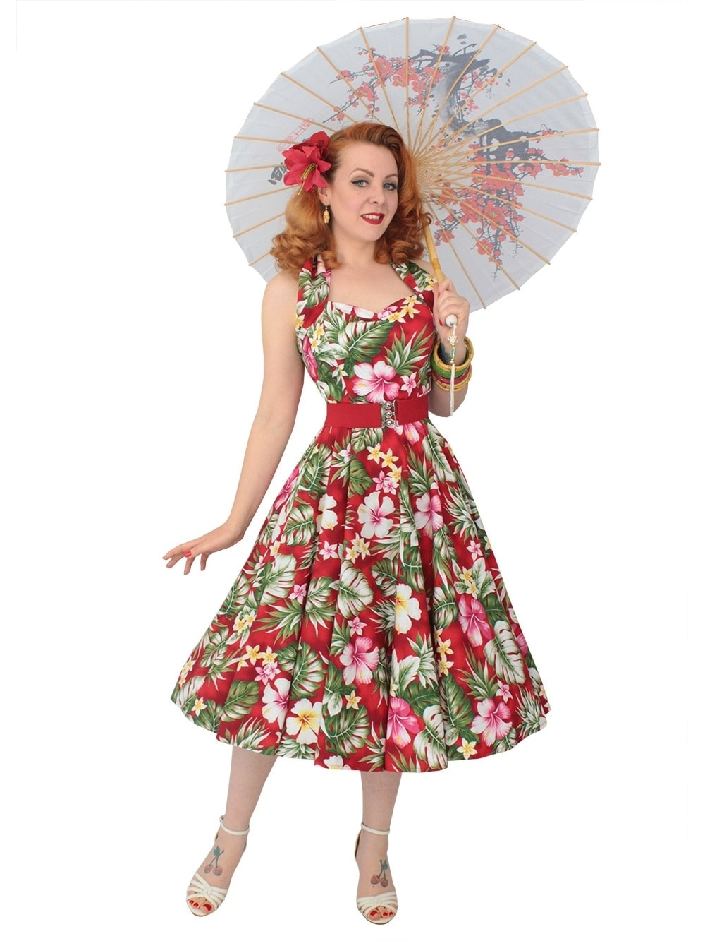 Hibiscus Circle Dress 50s Wedding