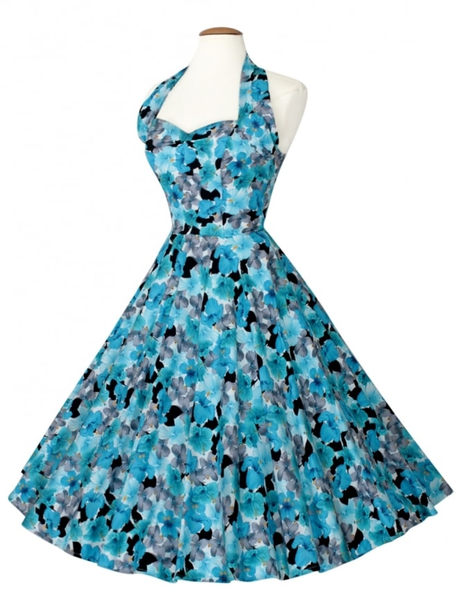 50s-1950s-Vivien-of-Holloway-Best-Vintage-Reproduction-Halterneck-Circle-Dress-Hibiscus-Blue-Floral-Tropical-Print-Rockabilly-Swing-Pinup