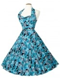 1950s Halterneck Dress Hibiscus Blue
