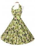 1950s Halterneck Dress Hibiscus Green