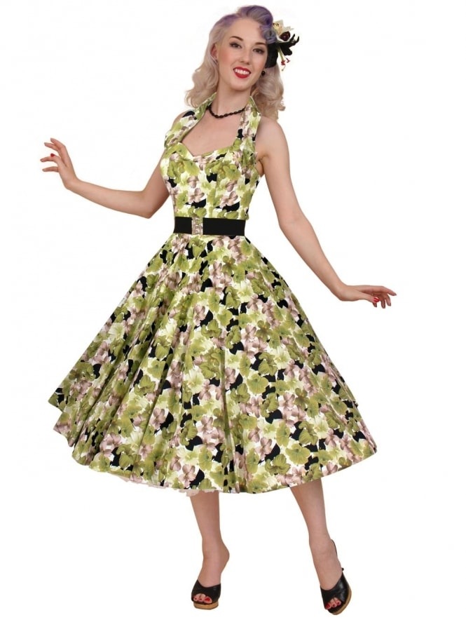 50s-1950s-Vivien-of-Holloway-Best-Vintage-Reproduction-Halterneck-Circle-Dress-Hibiscus-Green-Floral-Tropical-Print-Rockabilly-Swing-Pinup
