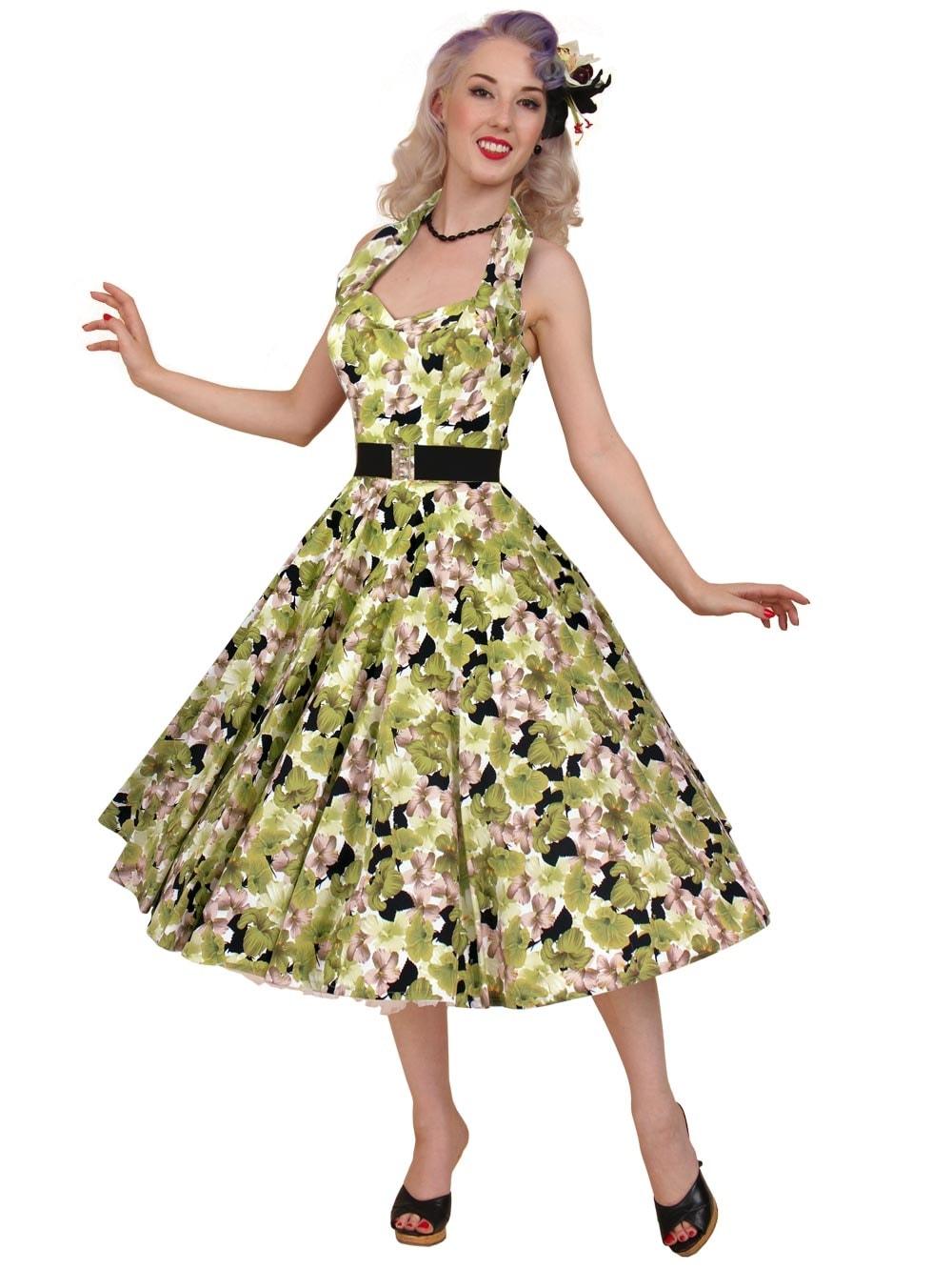 1950s Halterneck Hibiscus Green Dress From Vivien Of Holloway