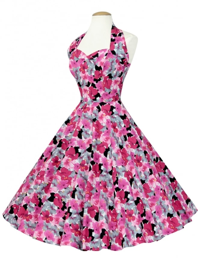 50s-1950s-Vivien-of-Holloway-Best-Vintage-Reproduction-Halterneck-Circle-Dress-Hibiscus-Pink-Floral-Tropical-Print-Rockabilly-Swing-Pinup