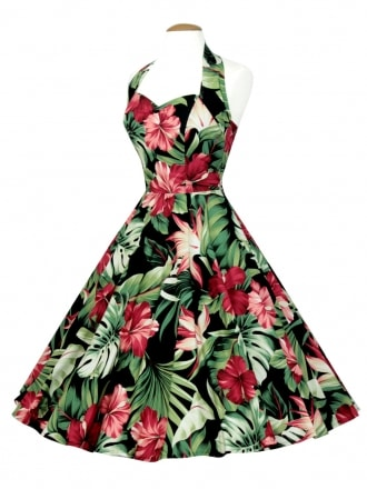 50s-1950s-Vivien-of-Holloway-Best-Vintage-Reproduction-Halterneck-Circle-Dress-Large-Hibiscus-Floral-Tropical-Print-Rockabilly-Swing-Pinup