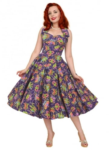 50s-1950s-Vivien-of-Holloway-Best-Vintage-Reproduction-Halterneck-Circle-Dress-Masquerade-purple-Halloween-Print-Rockabilly-Swing-Pinup