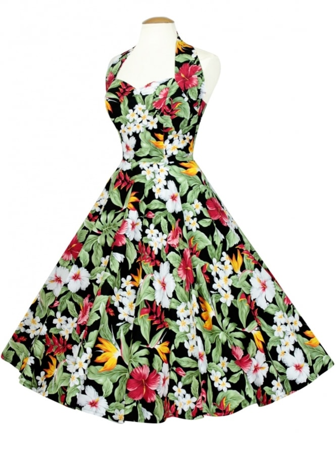 50s-1950s-Vivien-of-Holloway-Best-Vintage-Reproduction-Halterneck-Circle-Dress-Tropical-Black-Floral-Tropical-Print-Rockabilly-Swing-Pinup
