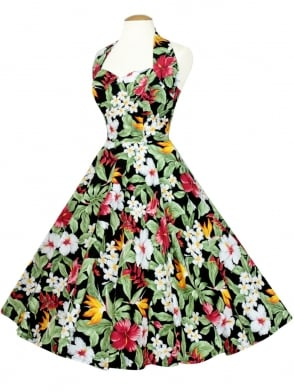 1950s Halterneck Dress Tropical Black