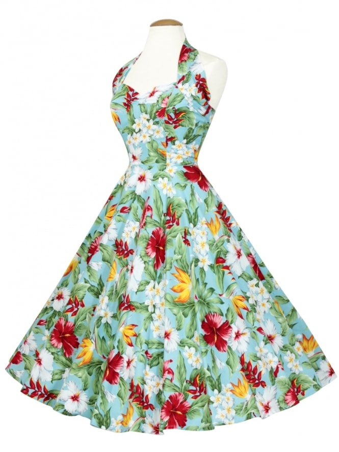 50s-1950s-Vivien-of-Holloway-Best-Vintage-Reproduction-Halterneck-Circle-Dress-Tropical-Blue-Floral-Tropical-Print-Rockabilly-Swing-Pinup