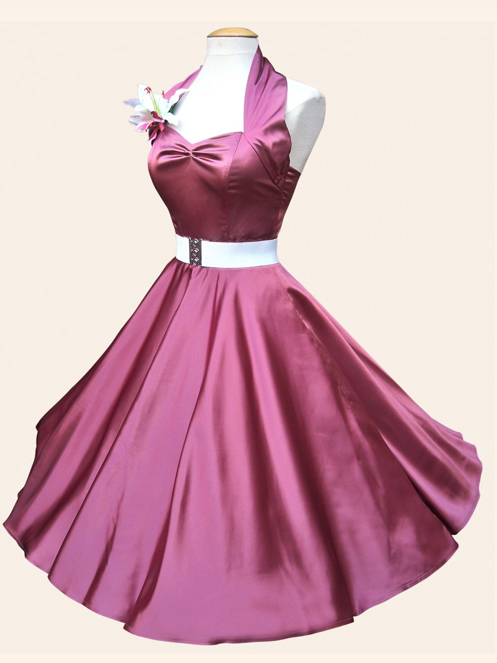 1950s halterneck dusky pink satin dress for Dusky pink wedding dress