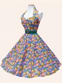 1950s Halterneck Floral Fiesta Dress