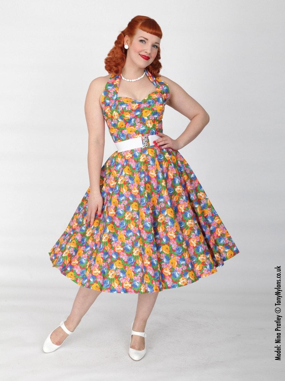 a10e4bc4 1950s Halterneck Floral Fiesta Dress from Vivien of Holloway