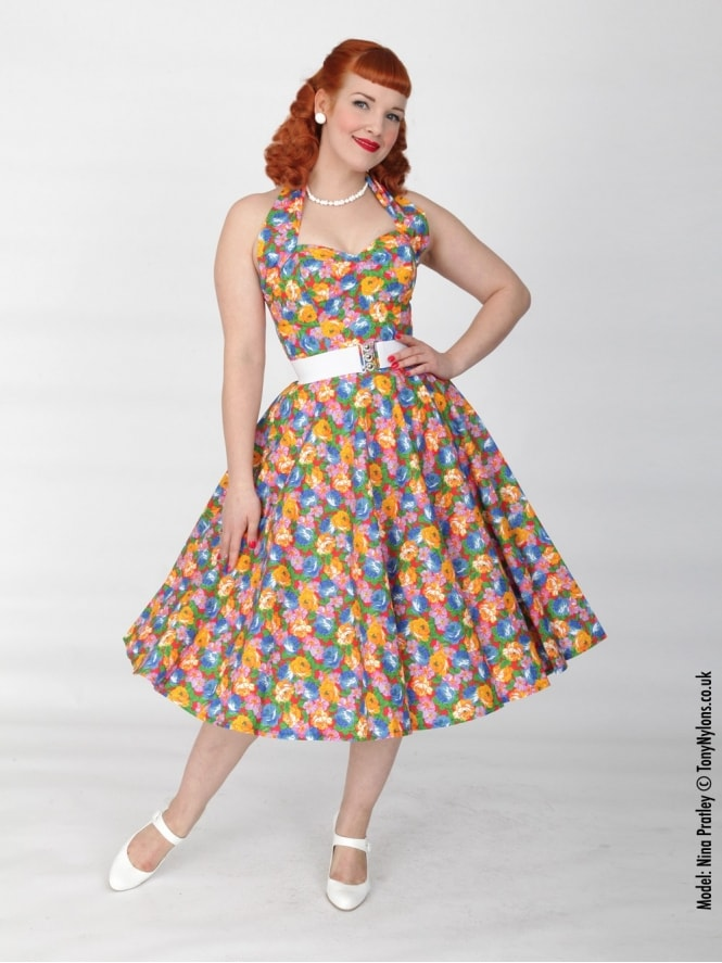 50s-1950s-Vivien-of-Holloway-Best-Vintage-Reproduction-Halterneck-Circle-Dress-Floral-Fiesta-Orange-Print-Rockabilly-Swing-Pinup