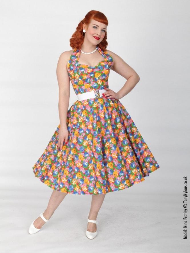 50s-1950s-Vivien-of-Holloway-Best-Vintage-Reproduction-Halterneck-Circle-Dress-Floral-Fiesta-Orange-Print-Rockabilly-Swing-Pinup