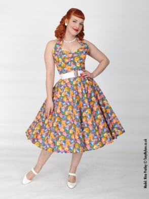 1950s Halterneck Floral Fiesta Dress