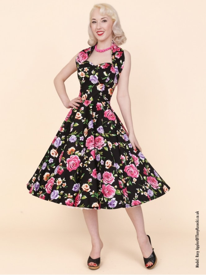 50s-1950s-Vivien-of-Holloway-Best-Vintage-Reproduction-Halterneck-Circle-Dress-Floral-Noir-Print-Rockabilly-Swing-Pinup