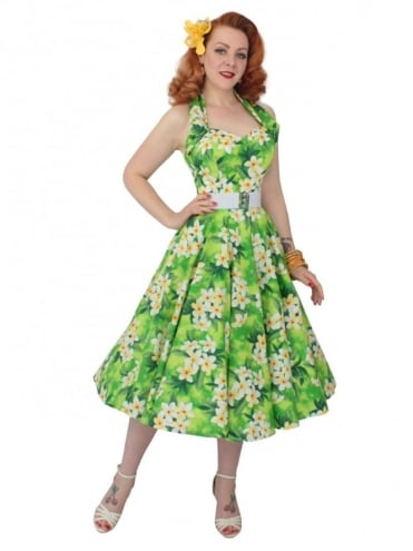 1950s Halterneck Frangipani Lime Dress
