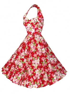 1950s Halterneck Frangipani Red Dress