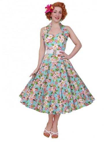 1950s Halterneck Frangipani Sky Dress