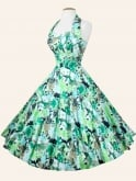 1950s Halterneck Green Meadow Dress