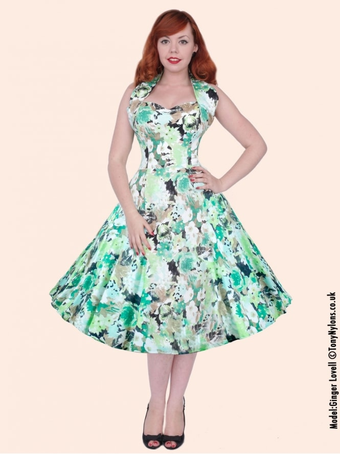 50s-1950s-Vivien-of-Holloway-Best-Vintage-Reproduction-Halterneck-Circle-Dress-Green-Meadow-Floral-Print-Rockabilly-Swing-Pinup