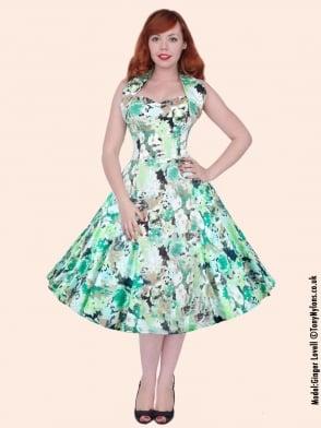 1950s Halterneck Green Meadow Dress