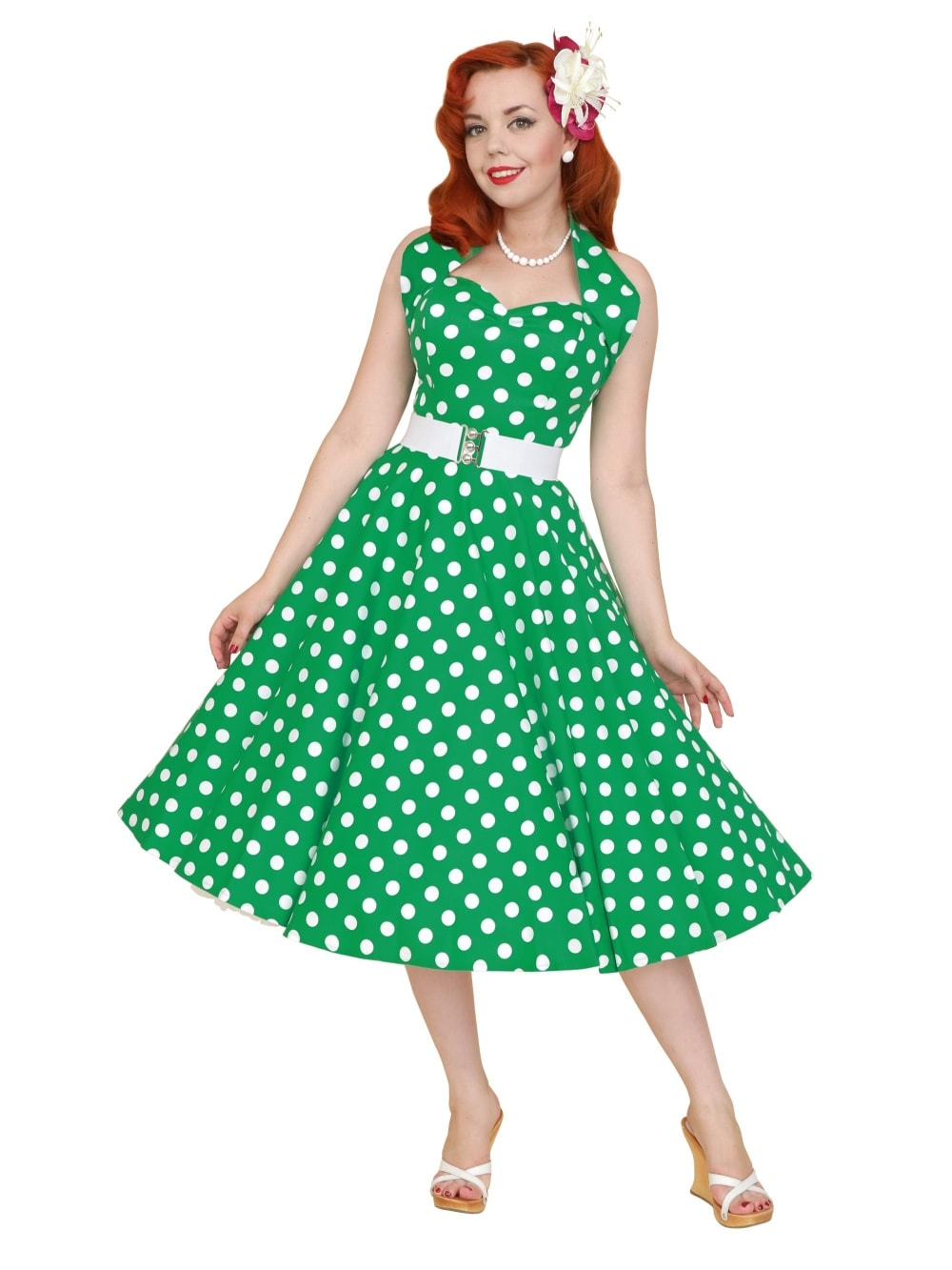 7c67b34f31d9 1950s Halterneck Green Polkadot Dress from Vivien of Holloway