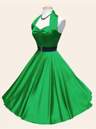 1950s Halterneck Green Satin Dress