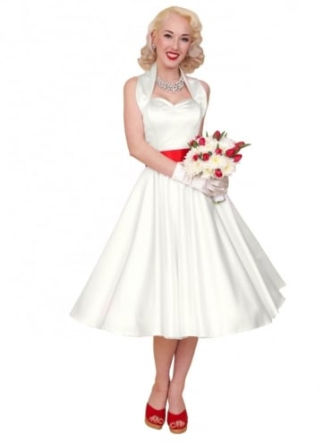 1950s Halterneck Ivory Duchess Dress
