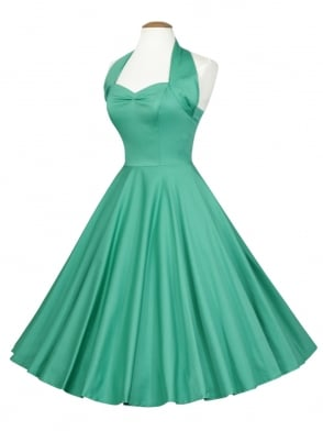 1950s Halterneck Jade Sateen Dress