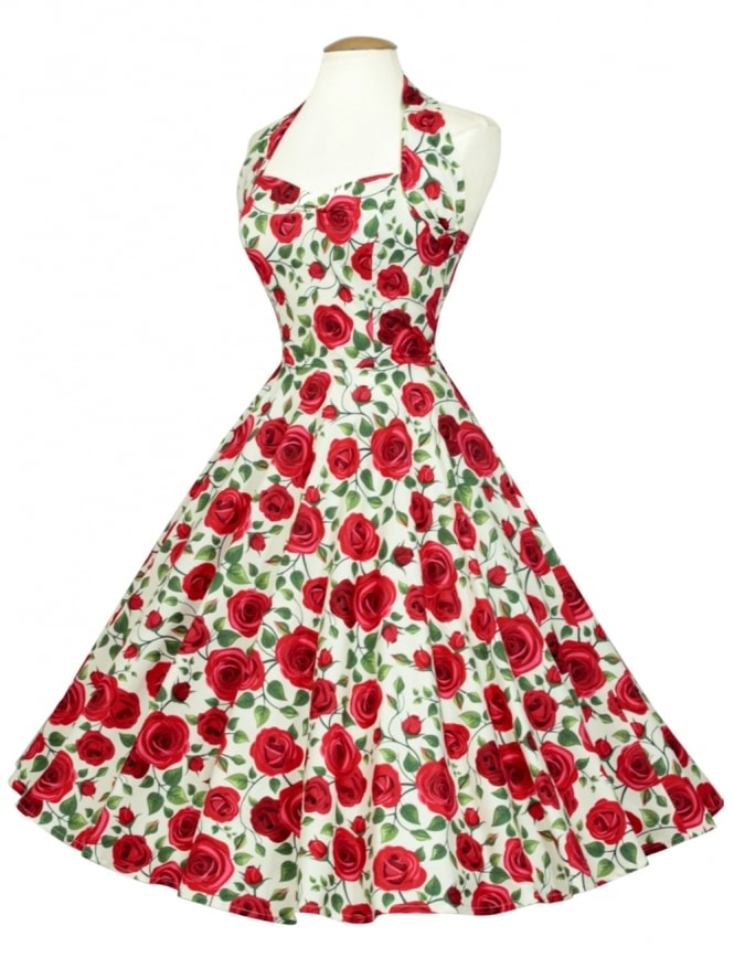 50s-1950s-Vivien-of-Holloway-Best-Vintage-Reproduction-Halterneck-Circle-Dress-Jubillee-Rose-Print-Rockabilly-Swing-Pinupe-Fl