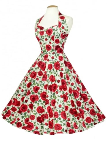 1950s Halterneck Jubillee Rose Dress
