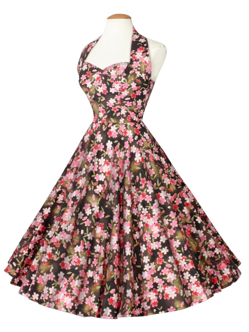 1950s Halterneck Kimono Black Dress from Vivien of Holloway