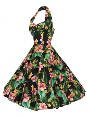 1950s Halterneck Large Hibiscus Black Dress