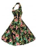 1950s Halterneck Large Hibiscus Black Dress
