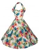1950s Halterneck Large Hibiscus Cream Dress